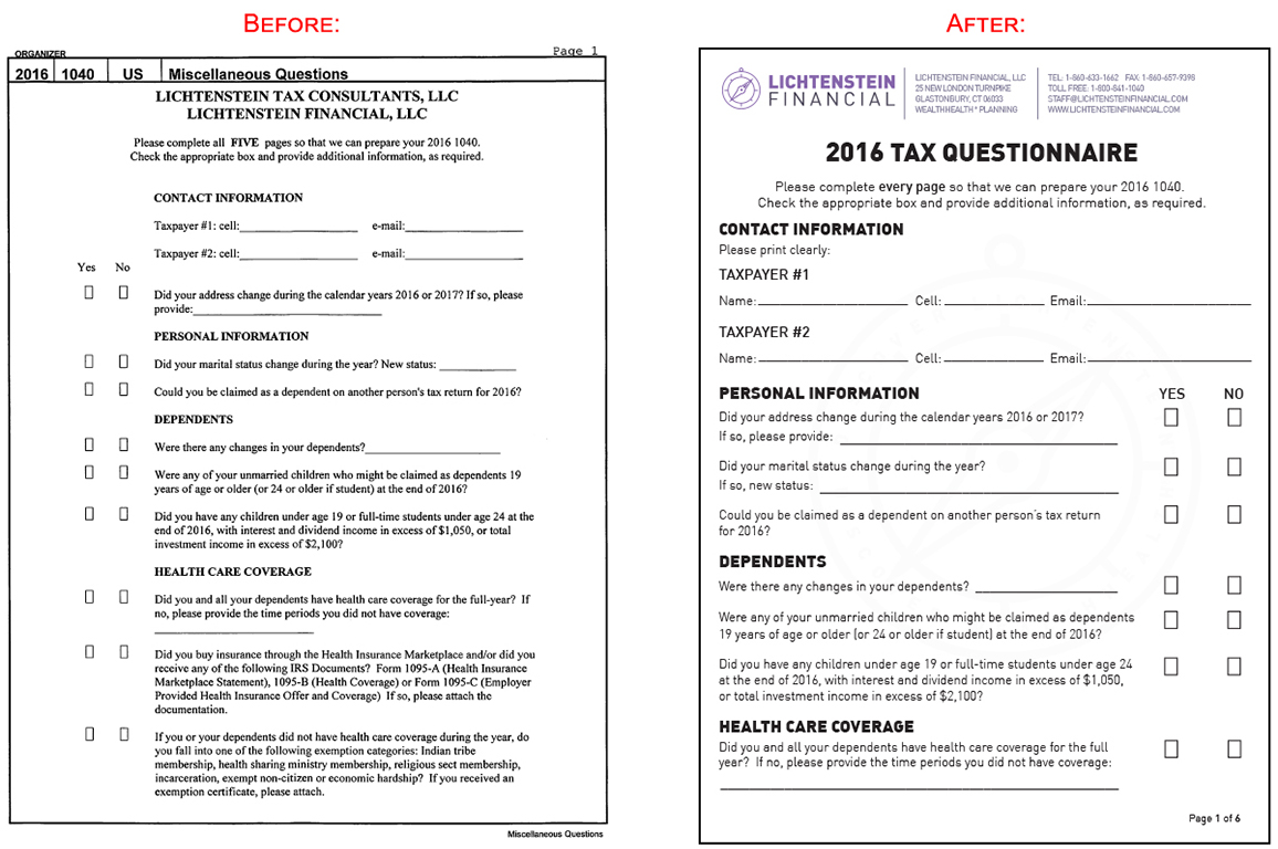Multipage Typeset Interactive Form